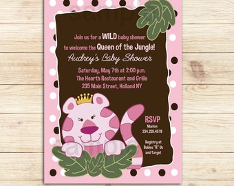 Queen of the Jungle Brown and Pink Trendy Tiger Baby Shower Invitations, Girl Baby Shower bs-055