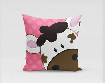 Cute Happy Cow, Brown Dairy Cows Farm Barn Nusery Gift Decorative Throw Pillow Choose Color