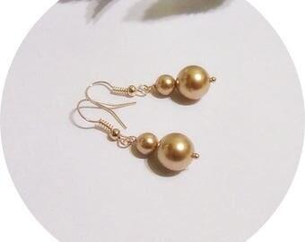 Rose Gold Earrings, Rose Gold Wedding Bridesmaid Earrings, Rose Gold Pearl Earrings Bridal Accessories, Earrings Rose Gold, Dangle Rose Gold