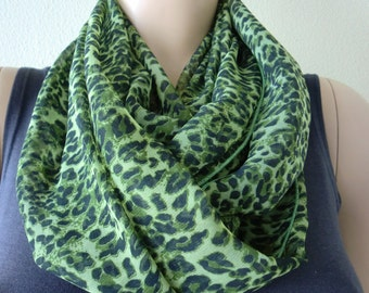 Grass green leopard/animal print infinity scarf -Green animal print  leopard chiffon Scarf Cowl, loop circle scarf-Instant gratification...