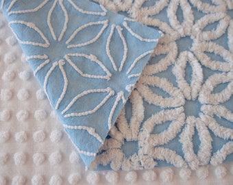 """Vintage Chenille Fabric - Hofmann blue daisy - 18"""" x 24"""" - 400-206"""