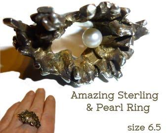 Brutalist Pearl & Sterling Silver Sculptural Ring. 15 Grams Jewelry as Art. Killer Shape. Asymmetrical Design. Size 6.5