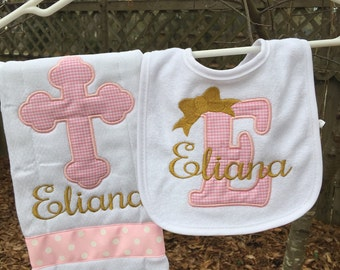 Celtic cross burpcloth and bib set