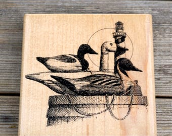 Impression Obsession, Wood Mounted Rubber Stamp, Three Decoys, Duck Stamp H1040