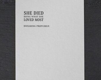 swearing profusely. letterpress card. #160