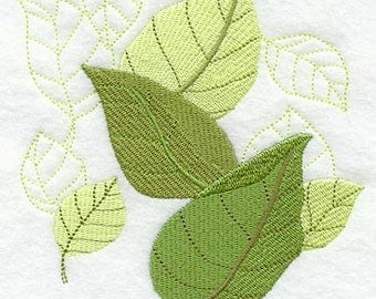 FALL BEECH LEAF White Cotton Kitchen Tea Towel