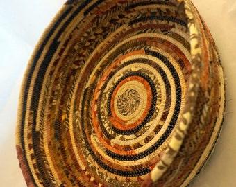 Earthtone Batik Fabric Wrapped Basket