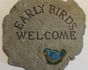 Early Birds Welcome Sign, Vintage Wall Plaque, Country Charm, Farm Home Decor, Indoor Outdoor Sign, Welcome Wall Sign, Early Birds Welcome