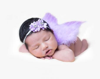 Sale! Set with headband. The Original Lavender Baby Angel wings by Chicaboo, Ready to ship with headband. Great newborn photography prop.