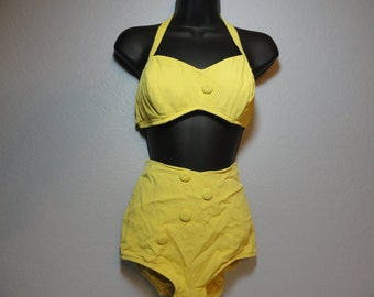Vintage Swimsuit 1950s Yellow 2-piece Bathing Suit Size 38 High Waist