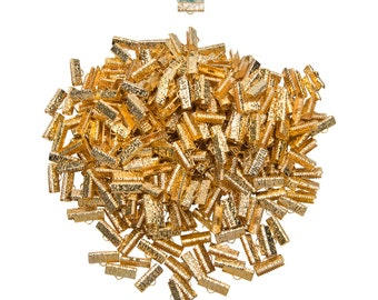 500pcs.  16mm  (5/8 inch)  Gold Ribbon Clamp End Crimps - Artisan Series