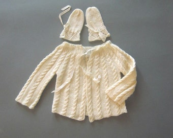 Baby Cable Knit Sweater and Mittens Newborn Clothing Baby Shower Gift Infant Sweater Knitted Cable