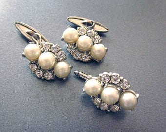 Vintage Cuff Links Pearls and Rhinestones Women's Shirt Accessory