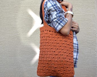Crochet tote bag shoulder bag 100% cotton avoska handmade bag beach farmers market boho bohemian 2 shades pumpkin orange Autumn Fall bag