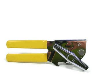 Swing A Way Can Opener with Golden Yellow Handles Vintage Yellow Kitchen Tool Bottle Opener