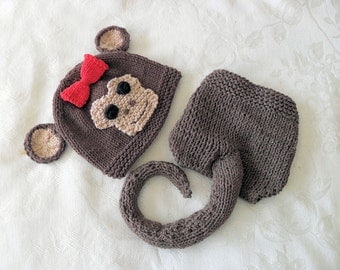 Hand Knitted Baby HAT and  DIAPER COVER, Monkey Baby Hat and Diaper cotton knitted baby hat Newborn Knitted Baby Hat Knitted Baby Beanie