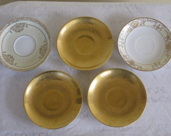 Collection of 5 Saucers, Three Solid Gold, Two Gold and White Pattern, Noritake Bancroft Pattern Made in Japan