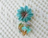 Flower brooch, turquoise flower, verdigris flower, turquoise and gold, flower pin, turquoise flower brooch, turquoise flower pin, floral pin