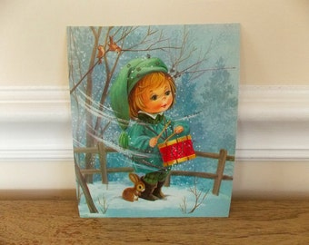 Vintage Little Drummer Boy Christmas Card, 1960s, Christmas Card, Supplies, Collectible, Little Drummer Boy, Vintage Christmas, Retro