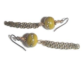 Lampwork Glass Earrings Long Dangle Boho Earrings Chain Fringe Earrings