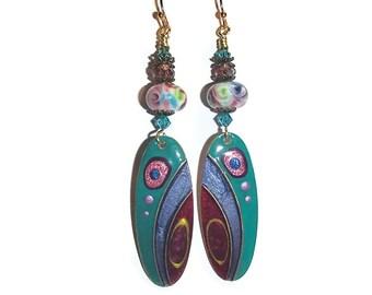 Long Dangle Earrings Bright Colors Painted Metal Earrings E86
