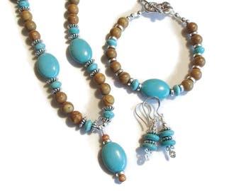 Southwestern Style Set Turquoise Magnesite and Jasper Jewelry Set Necklace Bracelet Earring Set