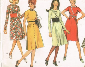 70s Fitted Dress or Jumper Pattern Simplicity 9255 Bust 34 or 36 Flattering Long or Short Sleeved Dress  Vintage 1971 Sewing Pattern