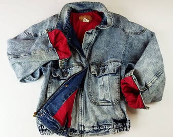 Oversized Levi Jacket Mens Levi Jacket 80s Vintage Levi Bomber Jacket Acid Wash Denim Jacket Lined Levi Jacket Mens M / Womens L / XL
