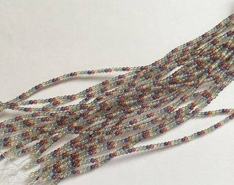 Five Color Transparent 3mm Druk Beads, 75 Beads Per Strand, Transparent Beige, Green, Blue, Purple and Red