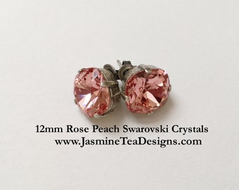 Rose Peach Earrings, 12mm Cushion Cut Swarovski Rose Peach Crystals,  Set In Vintage Patina Antique Silver, Post Setting, Stud Earrings