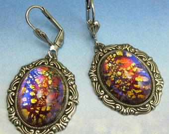 Vintage Glass Orange Fire Opal Dangle Earrings with Victorian Inspired Antique Silver Setting and Earwire
