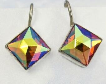 Sterling Silver Earring Topaz Sunrise Vintage Glass Earrings Art Deco Jewelry