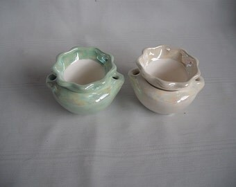 "1.75"" Ceramic African Violet Pot / Planter / Set of 2 / Mother of Pearl"