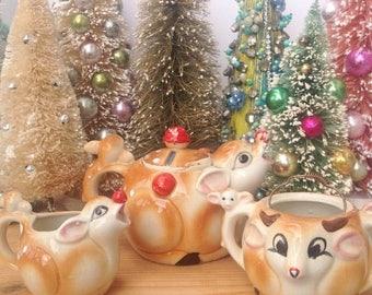 SPRING SALE Vintage Deer teapot it's sugar dish (no lid) and creamer. Made in Japan. Vintage deer. Home decor. Mantel decoration. Tea set.