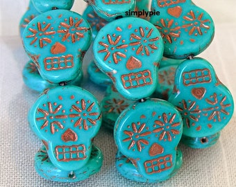 Sugar Skull Turquoise Copper Czech Glass Beads 20mm 6 Pcs Day of The Dead Beads