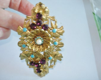 Pearl Rhinestone Turquoise Flower Brooch Gold Tone
