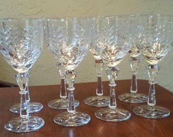 Crystal Wine Glasses, Set of 8 Wine Glasses, Crystal Goblets
