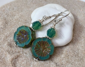 Sterling Silver, Jade Czech Glass Flower, and Swarovski Austrian Crystal Earrings