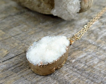 White Druzy Necklace, Druzy Pendant, Sparkle Necklace, Drusy Quartz, Boho Necklace, Drussy Pendant, Gift for Wife