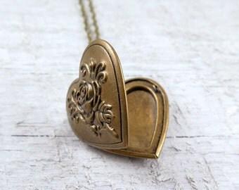 Heart Necklace, Heart Locket Necklace, Heart Pendant, Photo Locket, Bridesmaid Necklace