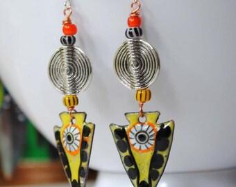 Ethnic Enamel Earrings, Artisan Enamel Jewelry, Yellow Arrowhead Earrings, Boho Chic Jewelry, Colorful Tribal Earrings