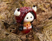 Little Native American Gnome with Buffalo hat glass bead