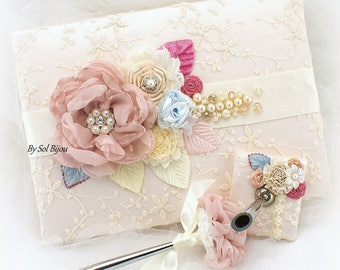 Wedding Guest Book, Lace Guest Book, Blush, Champagne, Blue, Pink, Ivory, Vintage Style, Signature Book, Birthday, Anniversary, Pen, Elegant