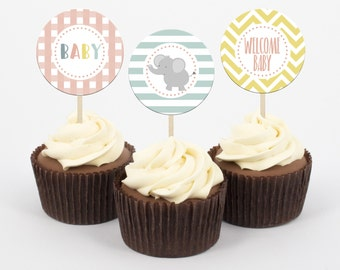 Baby Shower Animal Cupcake Toppers and cupcake wrappers, Baby Shower, Party Decorations, Paper and Party Supplies, Instant Download,