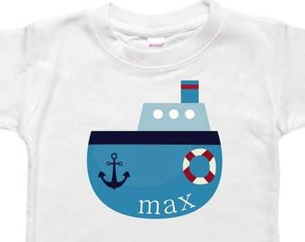 Personalized Baby Bodysuit - Toddler Shirt Tshirt - Baby Shower Birthday Gift - Nautical Boat Tugboat Anchor