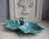 Vintage 1950s serving dish Midcentury aqua divided leaf dish Tidbit tray