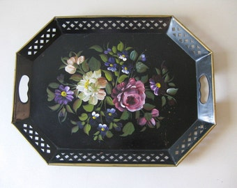 Vintage Nashco handpainted metal serving tray, Painted toleware metal serving tray