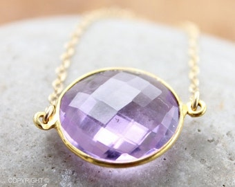 CHRISTMAS SALE Gold Pink Amethyst Quartz Gemstone Necklace - 14K Gold Fill - Bezel Necklace