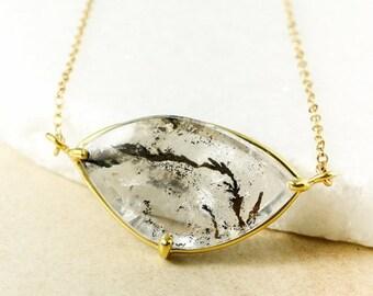 CHRISTMAS SALE Gold Dendritic Quartz Necklace, Tree Agate Necklace