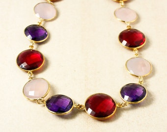 Red Ruby Quartz , Pink Chalcedony, and Purple Amethyst Quartz Necklace – Bib Necklace